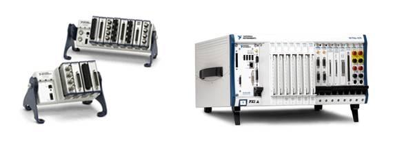 NI CompactDAQ (左) 和 PXI (右)機箱通過使用共同的背板時鐘,在多個I/O模塊之間同步