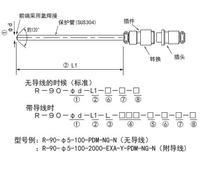 R-90金屬接頭熱電阻PT100鉑電阻RTD溫度探頭