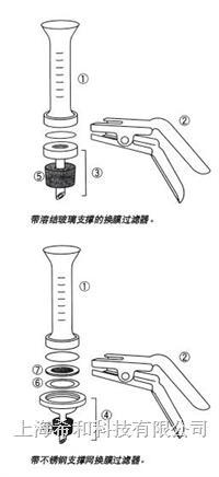 Millipore微量分析換膜過濾器,25 mm,帶熔結玻璃支撐物